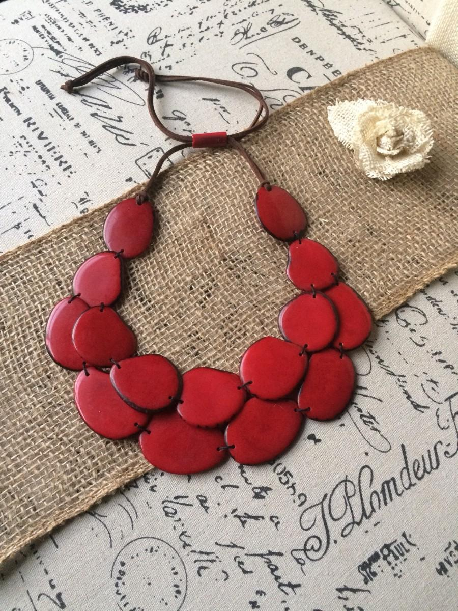 Mariage - Red Tagua necklace Big bold chunky necklace statement Anniversary gift for wife Double layer bib Valentine's Day gifts Two 2 strand collar