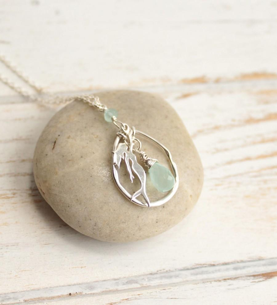 Mariage - Sterling Silver Mermaid Birthstone Pendant Necklace... Choose Your Stone