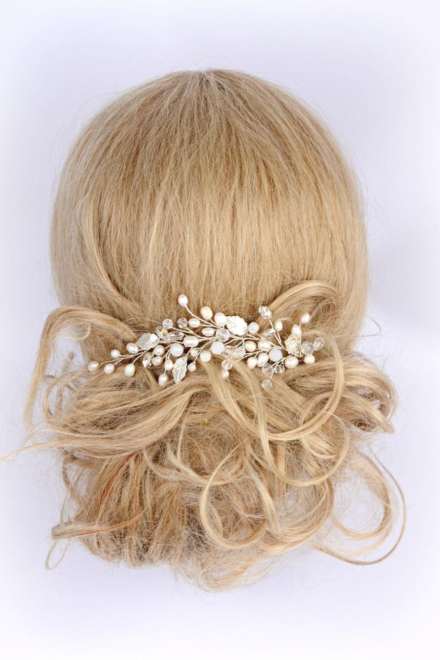 Hochzeit - Hair Vine Wedding, vine hair piece wedding, Bridal hair vine silver, Wedding hair clip, Bridal hair piece