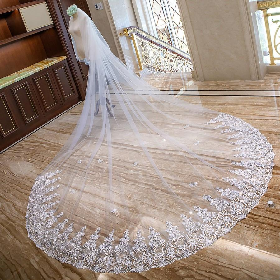 Mariage - Delicate Crystals Lace veil,Cathedral Wedding Veil,Wedding Veil,Double 2 Layer Wedding Veil,Two Tier Veil,Super Long Veil,Church veil(VY20)
