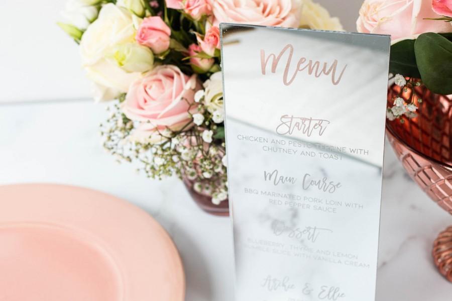 Hochzeit - Mirror Menu, Silver Mirror Wedding Menu, DL Menu, Wedding Table Menu, Engraved Menu, Standing Menu, Wedding Breakfast Menu