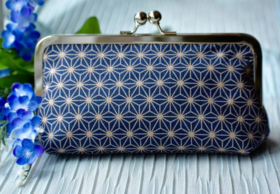 Hochzeit - Blue Kiss lock Clutch, Valentine's Day Gift for Her, Blue Cosmetic bag, Purse Insert, Blue Metal Frame purse, Blue clasp Wallet,Travel Pouch