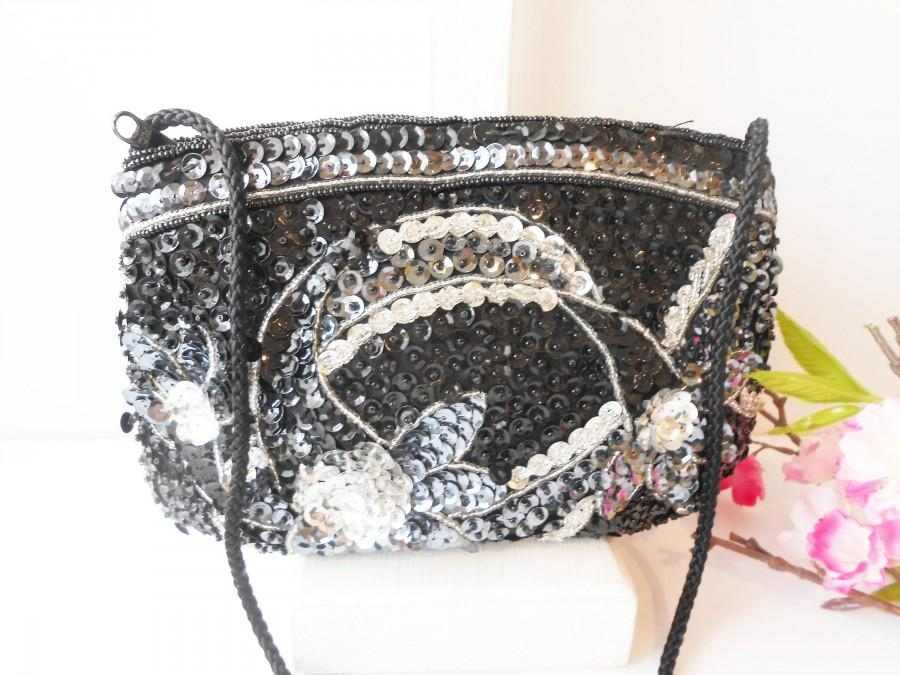 Hochzeit - Vintage Black Grey Silver Evening Bag, Sparkly Beaded Clutch Bag EB-0221
