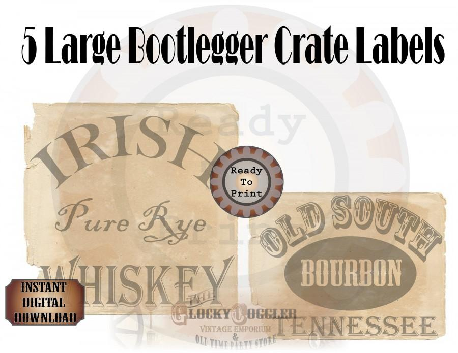 Mariage - 5 Booze Crate Labels Printable Roaring 20s Party Decor ~ Prohibition Speakeasy Gatsby Wedding Rye Whiskey, Bourbon, Gin, Ale, Home Brew PDFs