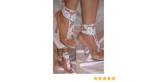 Hochzeit - Designs By Loure White Flower Barefoot Sandals, Beach Wedding Sandals, Bottomless Sandals