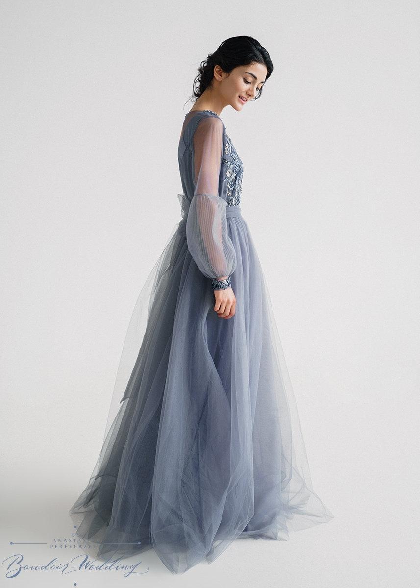 Hochzeit - Dark grey wedding dress dress, wedding dress, long sleeve dress, lace dress, tulle dress, prom dress, simple dress
