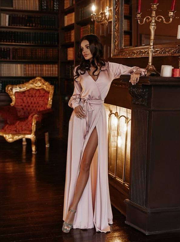 Hochzeit - Powder pink bridesmaid dress/silk wrap dress/wedding guest dress/minimalist dress/beach wedding dress/boho wedding dress/vintage dress