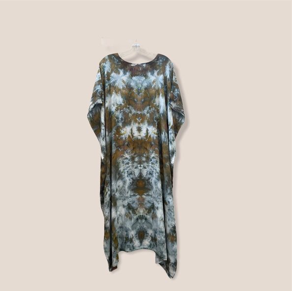 Hochzeit - Tie Dyed Light Rayon Max Caftan Dress - Olive and Moss Green & Blue Hues - One Size - Beach Dress - Lounge Wear - Casual chic- Hippie - Boho