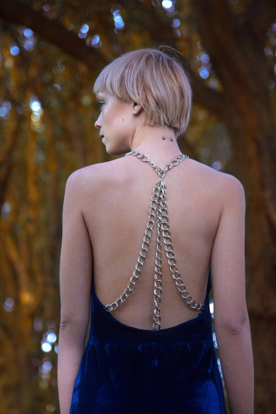 Hochzeit - Breaker of Chains Dress, Bridal, Bridesmaid, Alternative, Edgy, Game of Thrones, Blue, Velvet, Chains, Low Back, Evening Wear, Formal Wear