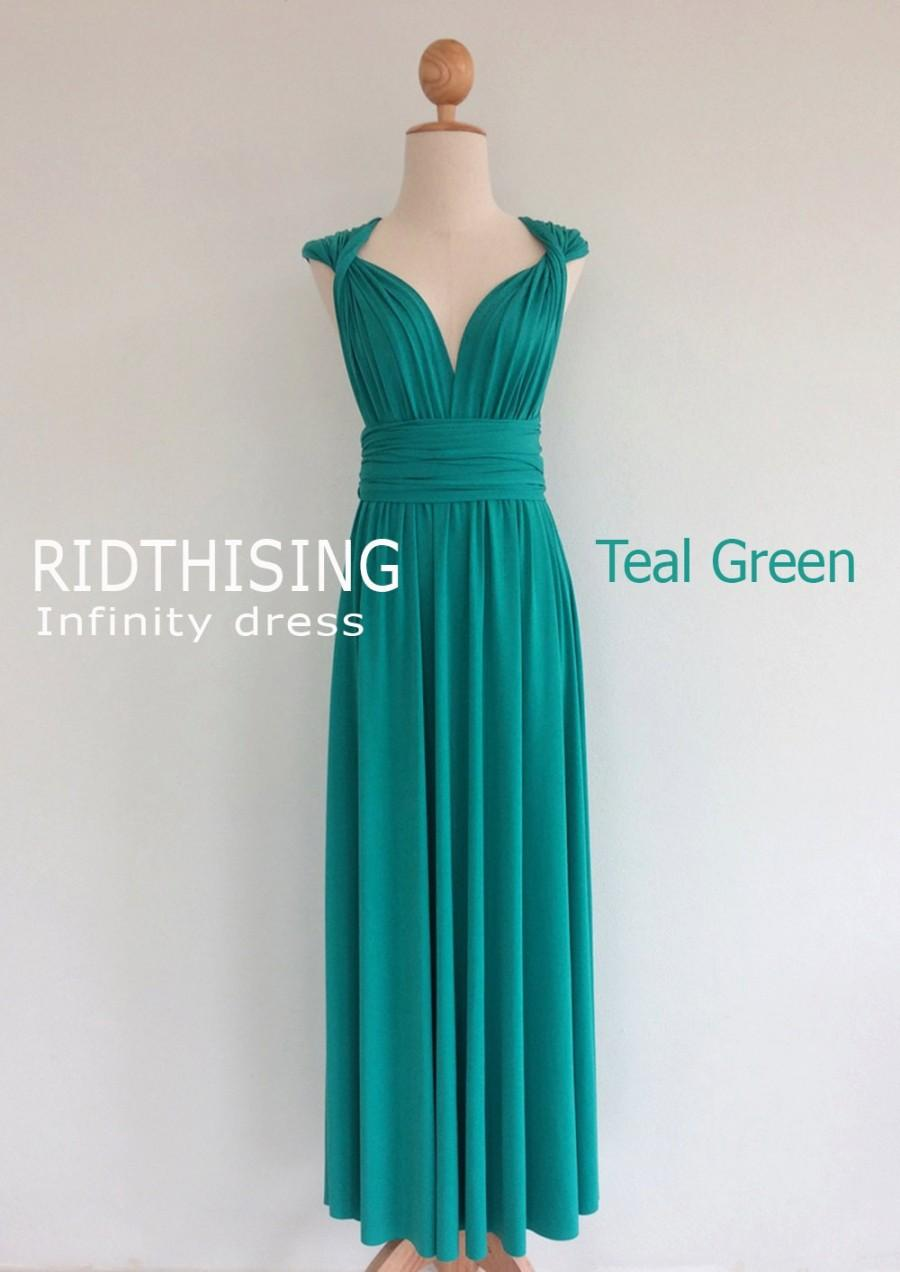 Hochzeit - Maxi Teal Green Bridesmaid Dress Infinity Dress Prom Dress Convertible Dress Wrap Dress