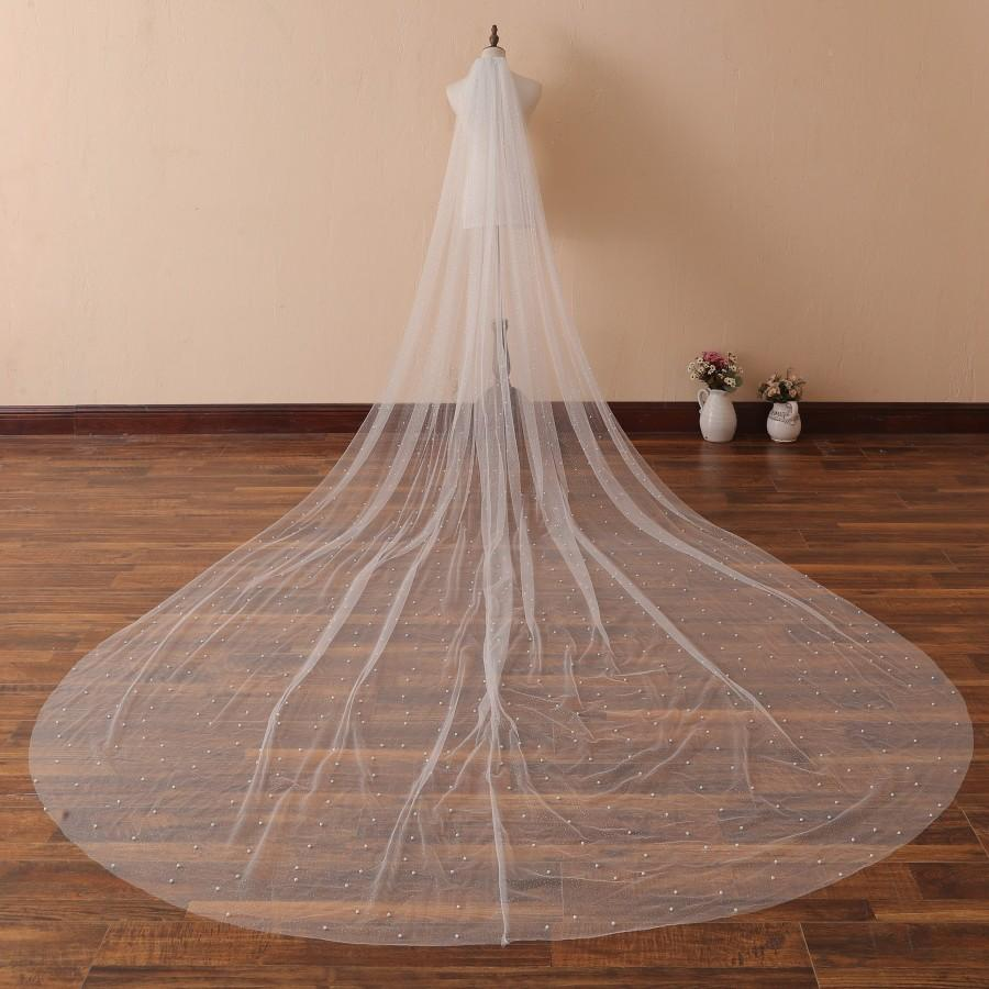Hochzeit - Pearls Scattered Cathedral Veil with Cut Edge Wedding Veil with Pearls Dust Sparkling Tulle Wedding Veil Chapel Bridal Veil Champagne Veil