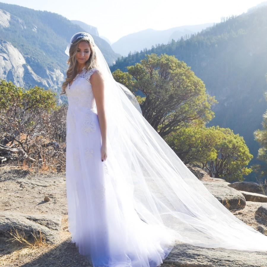 Hochzeit - Soft wedding veil. Juliette cap veil. Chapel length Juliette cap veil. Lace Juliette cap veil. Cathedral length veil
