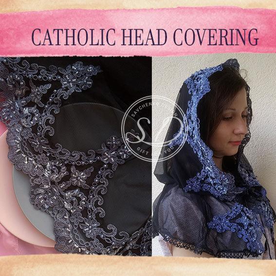 Hochzeit - Black Veil catholic lace mantilla veil Head coverings Circle Church Veil Black Spanish Lace Infinity Latin Mass Consolation Lace