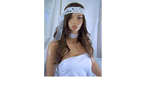 Hochzeit - Designs By Loure White Flower Lace Headband With Matching Choker Necklace, Bridal Headband And Matching Choker