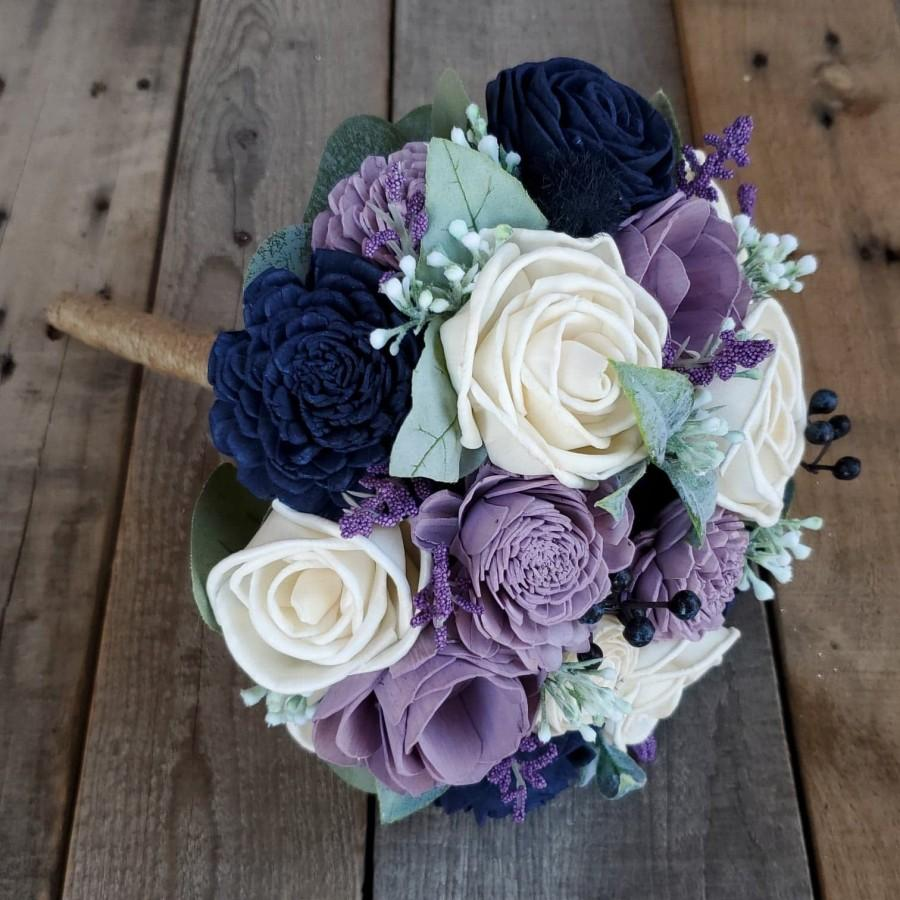 Mariage - Dusty Lavender, Navy Blue, and Cream Wood Flower Bouquet with Silver Dollar Eucalyptus and Dusty Miller, Bridal, Bridesmaid, Flower Girl