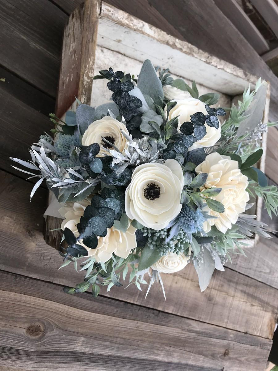 Свадьба - Wooden flower bouquet, anemone and dahlia bouquet, slate blue, eucalytpus, boho wedding bouquet, ivory and dusty blue, Sola wood flowers