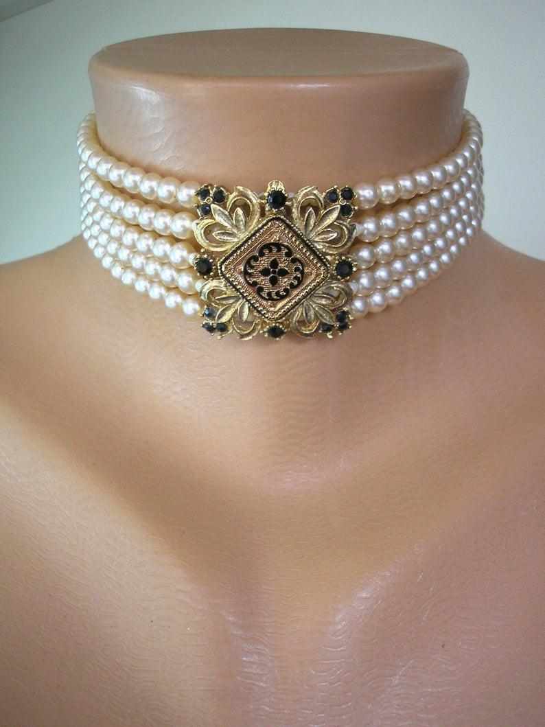 Wedding - Vintage Pearl Choker, 5 Strand Pearls , Vintage SPHINX Jewelry, Indian Bridal Choker, Vintage Wedding, Bridal Pearls, Statement Necklace