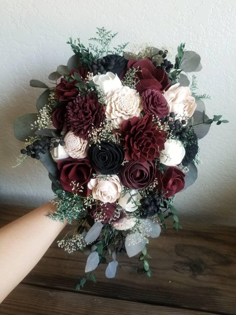 Mariage - Custom Bouquet Cascade Wine Burgundy Black Blush Sola Wood and Dried Flowers Greenery Eucalyptus Wedding Bridal Bridesmaid Gift Style 165
