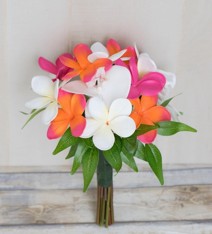 Mariage - Tropical Bouquet, Plumeria Bouquet, Beach Wedding Bouquet, Orchid Bouquet, Silk Wedding Bouquet, Coral Bouquet, Wedding Bouquet, Frangipani