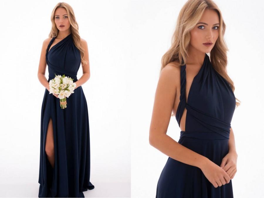 Wedding - Blue Bridesmaids Multiway Dress - Navy Homecoming Infinity Dress - Blue Prom Dress - Long Convertible Dress - Handmade by TTBFASHION
