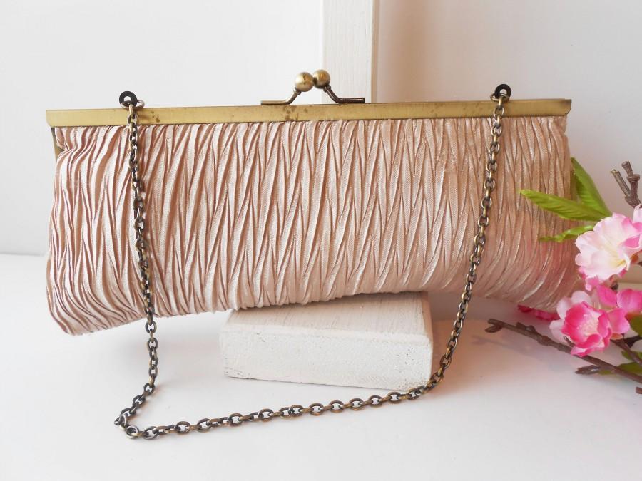 Hochzeit - Vintage Evening Bag in Light Mocha, Taffeta Clutch Bag EB-0257