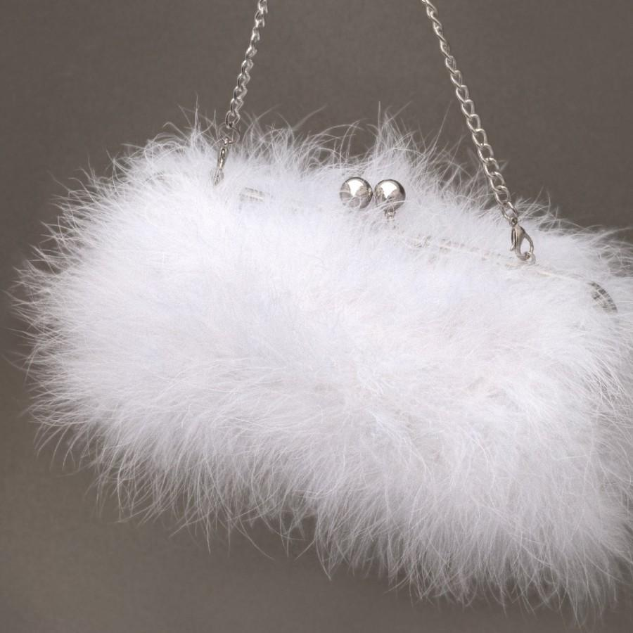 Hochzeit - Bridal Clutch MARILYN    Marabou Feather. 6 colors available