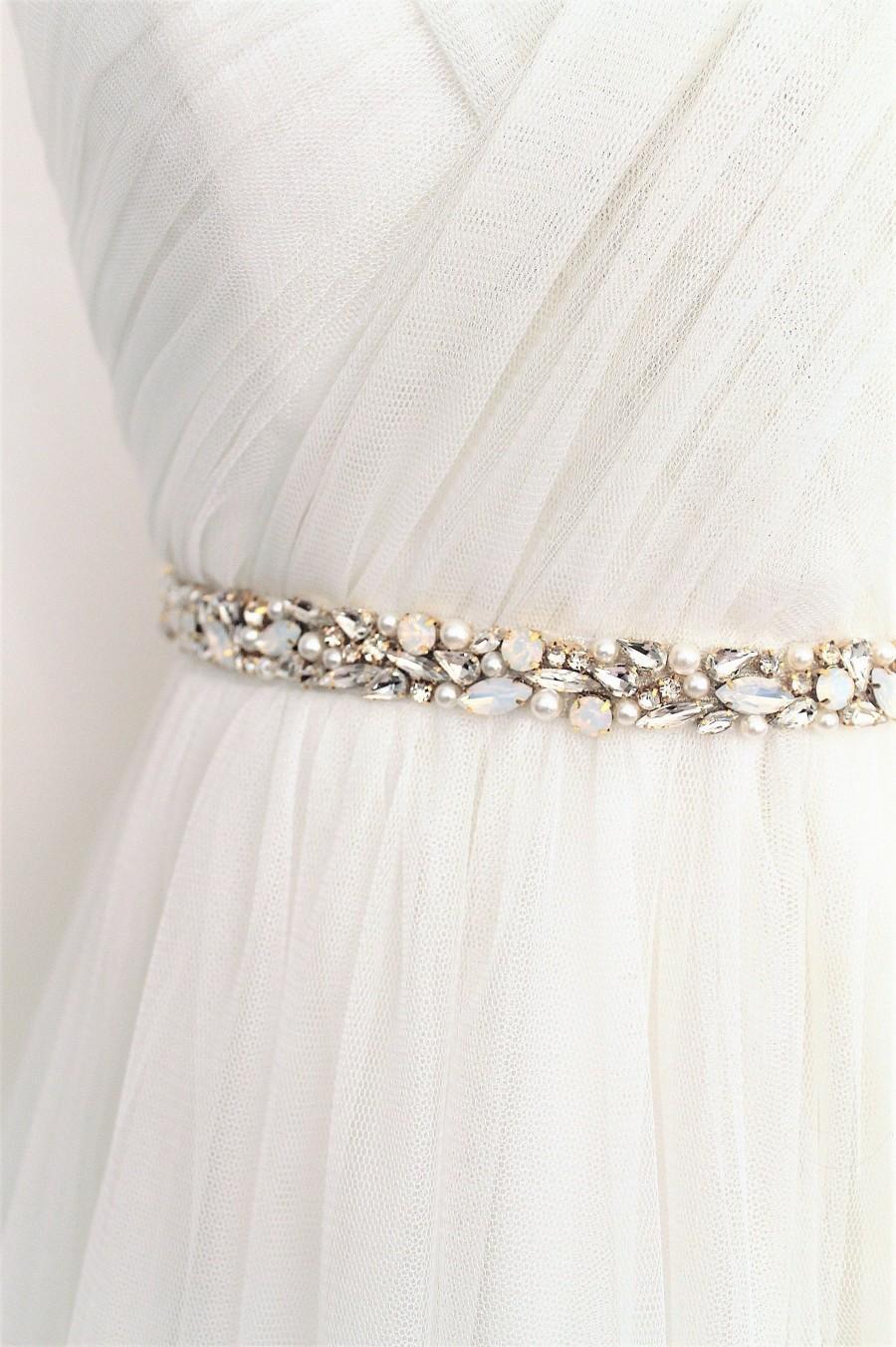 Mariage - Gold or Silver Opal Pearl Beaded Bridal Sash. All Around Thin Wedding Dress Belt. Slim Rhinestone Applique Trim Bridesmaid Sash. FAITH