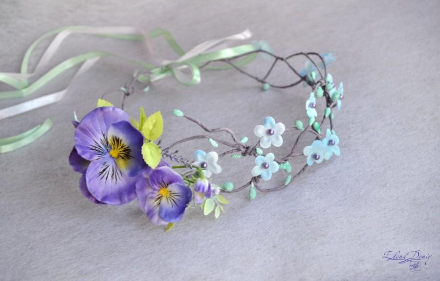 زفاف - Flower crown Wedding hair wreath Bridal floral crown lilac pansy Floral pearl crown Boho flower girl Rustic Wedding flower crown