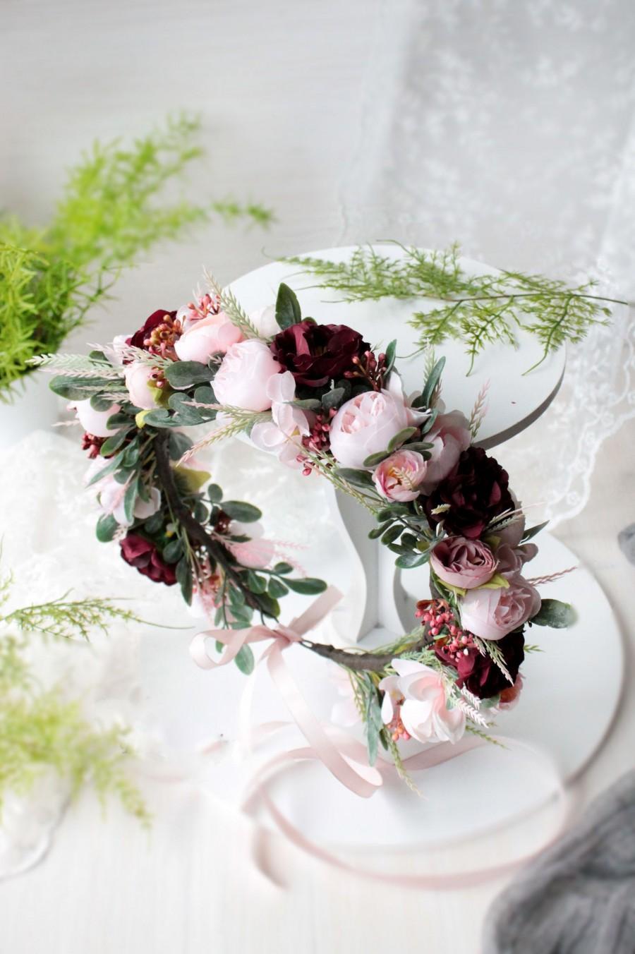 Wedding - Boho wedding crown, Burgundy floral hairpiece, Bridesmaid flower headpiece, Pink floral crown, Bridal flower crown, Maroon headpiece