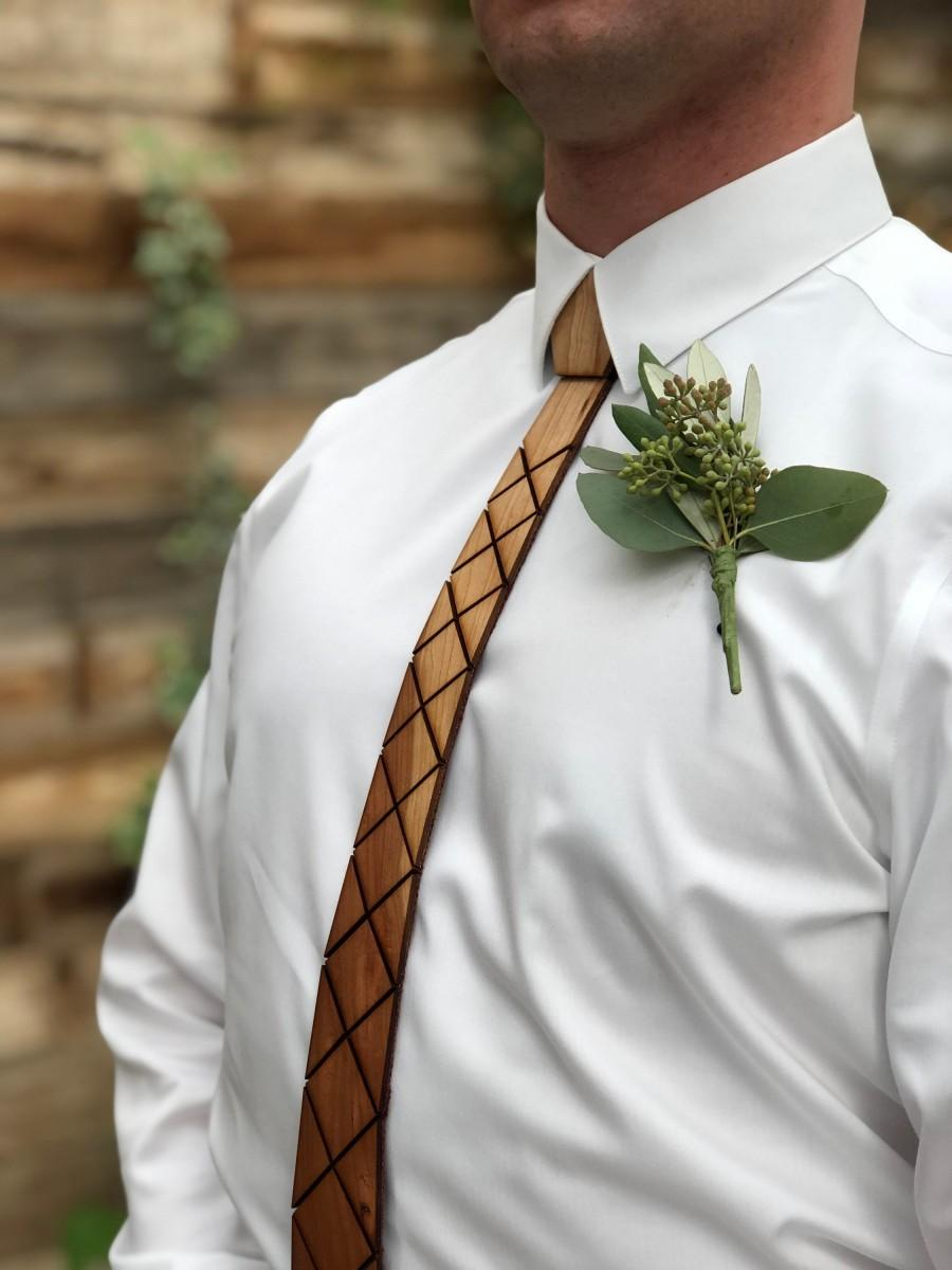 Wedding - Ultra FLEXIBLE WOOD TIE - Rustic Lux, Cherry, Light weight, real wood, rustic reception, events, gifts for him, groomsmen gifts, unique ties