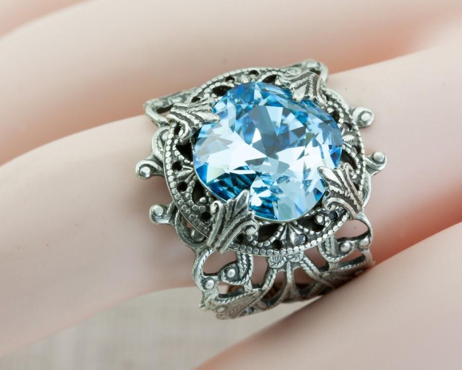 Wedding - Aquamarine Ring ALL SIZES / March Birthstone / something blue / Vintage style 4 4.5 5.5 6.5 7.5 8.5 9.5 10.5 11.5 12.5 Light sky ocean sea