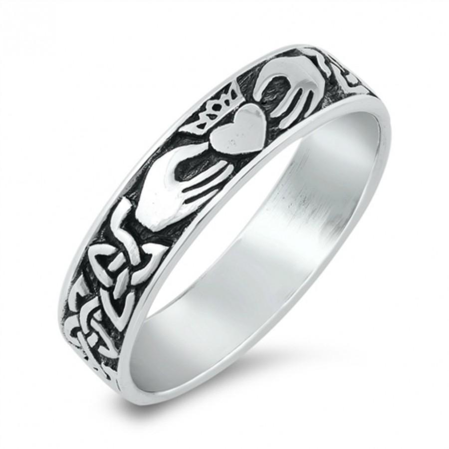 زفاف - Claddagh Ring, Irish Wedding Ring, Celtic Ring, Heart Ring, Thumb Ring, Sterling Silver Claddagh Ring , Love Loyalty Friendship Size 5 to 10