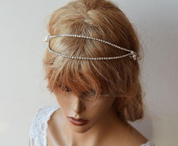 زفاف - Rhinestone Bridal Forehead band, Wedding Hair Accessories, Rhinestone and Pearl headband, Hair Vine, Bridal Hair Piece, Vine Halo Headpiece
