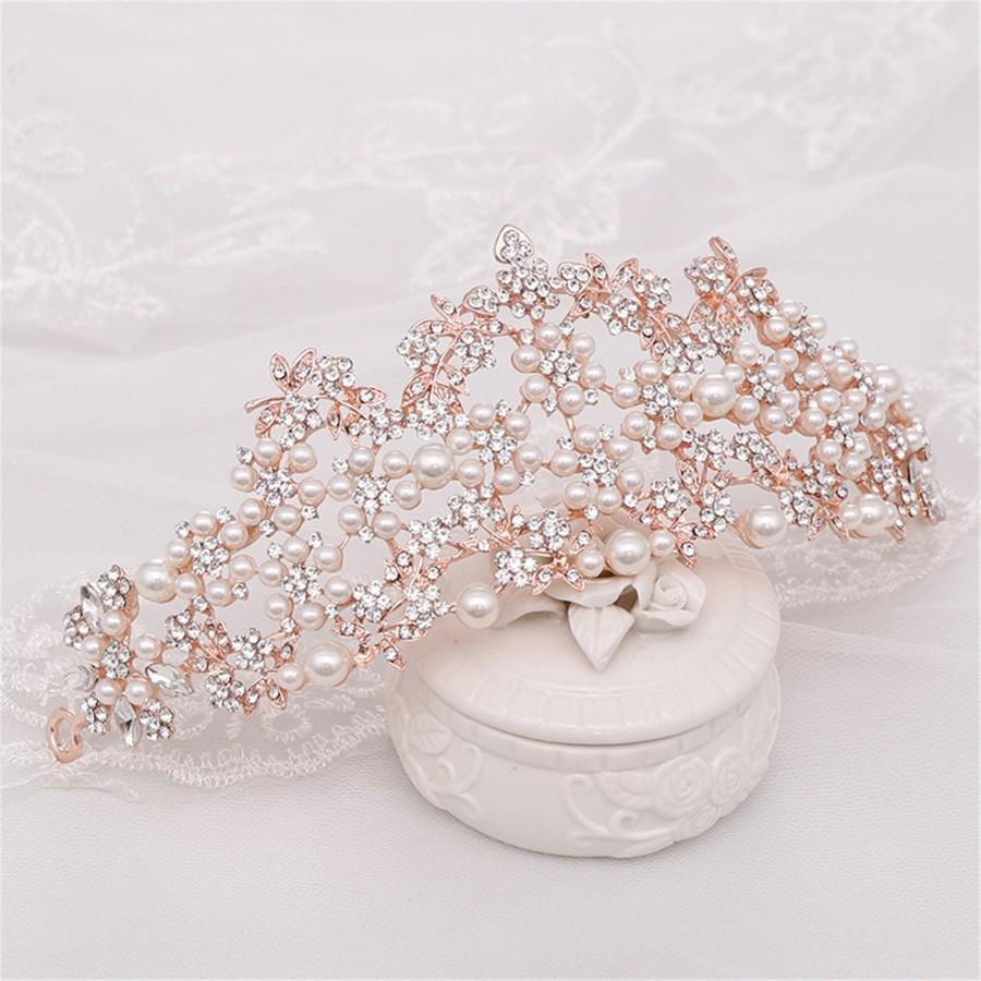 Wedding - Crystal Wedding Crown Pearl Bridal Crown Rose Gold Wedding Crown Pearl Bridal Tiara Crystal Hair Accessory Baroque Bridal Tiara