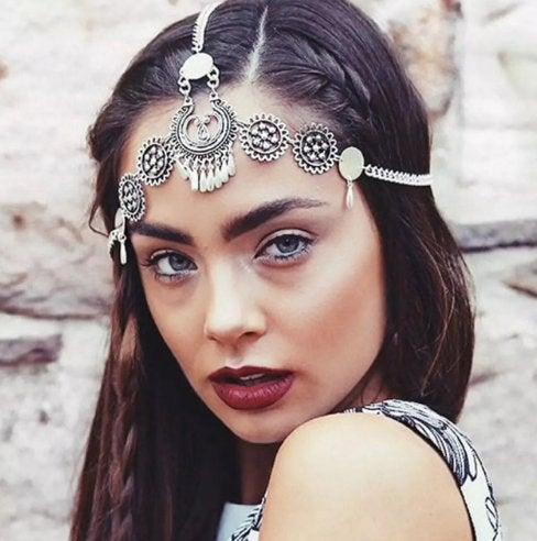 Wedding - Boho Headpiece Silver - Burning Man Festival