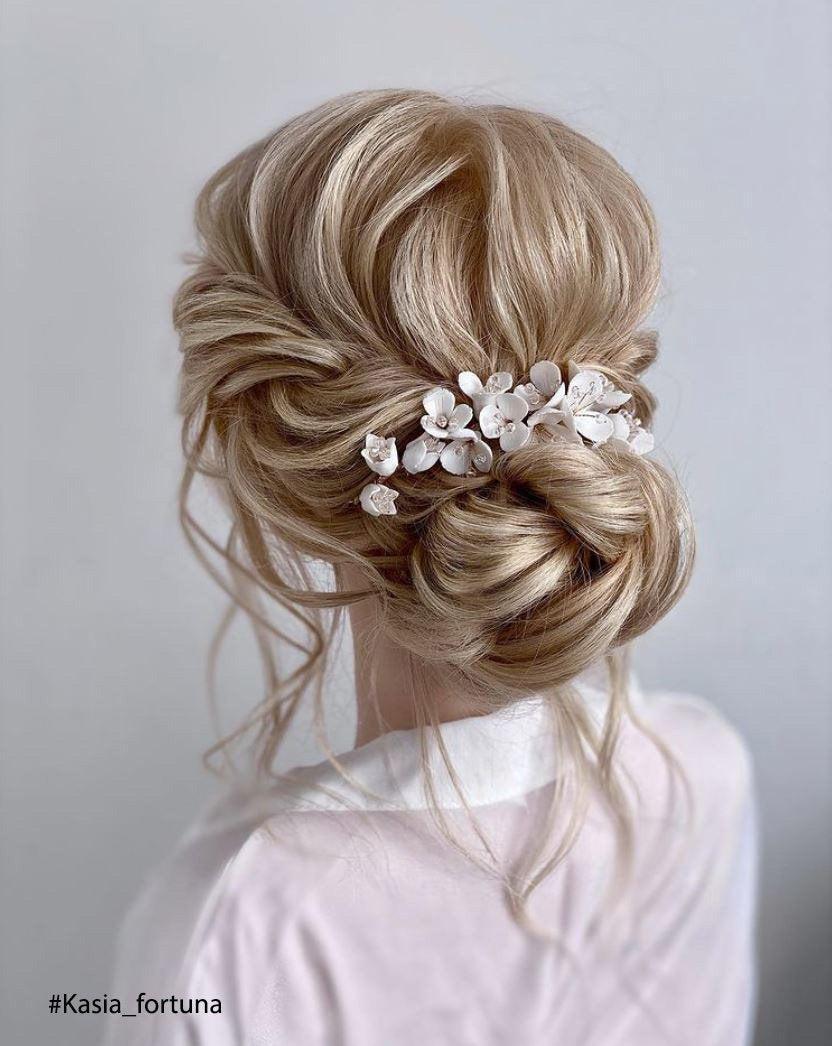 Wedding - Bridal Ivory Floral Hair Comb, Flower Hair Comb, Bridal Hair Flower, Flower Hair Vine, White Flower Comb, Gold Flower Hair Comb