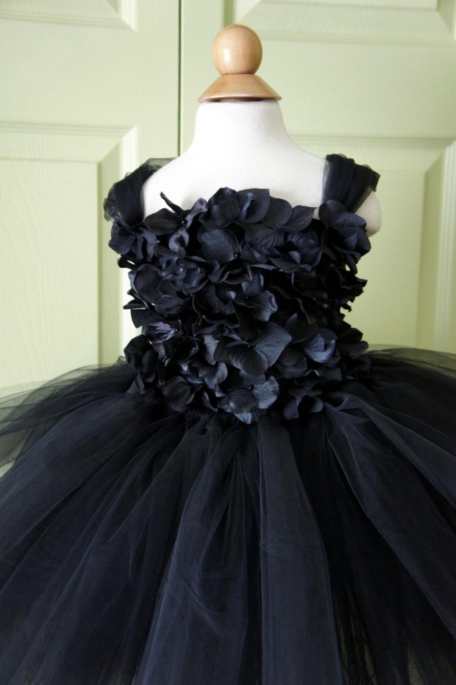 Wedding - Flower girl dress Black tutu dress, flower top, baby tutu dress, toddler tutu dress