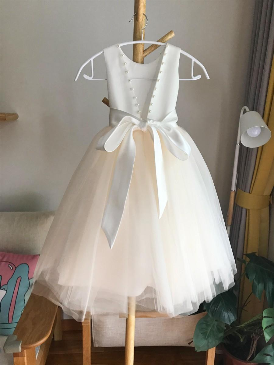 Wedding - Tulle champagne flower girl dress, V back ivory top dress with pearls, Communion dress