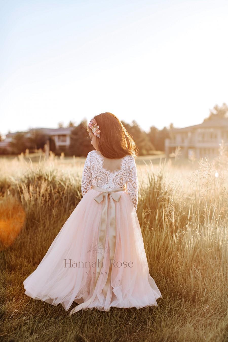 Wedding - Beautiful Blush Flower Girl Dress, Long Flowing, Boho Vintage Flower Girl Dresses, Girls Dresses, Tulle and Lace Flower Girl Dress