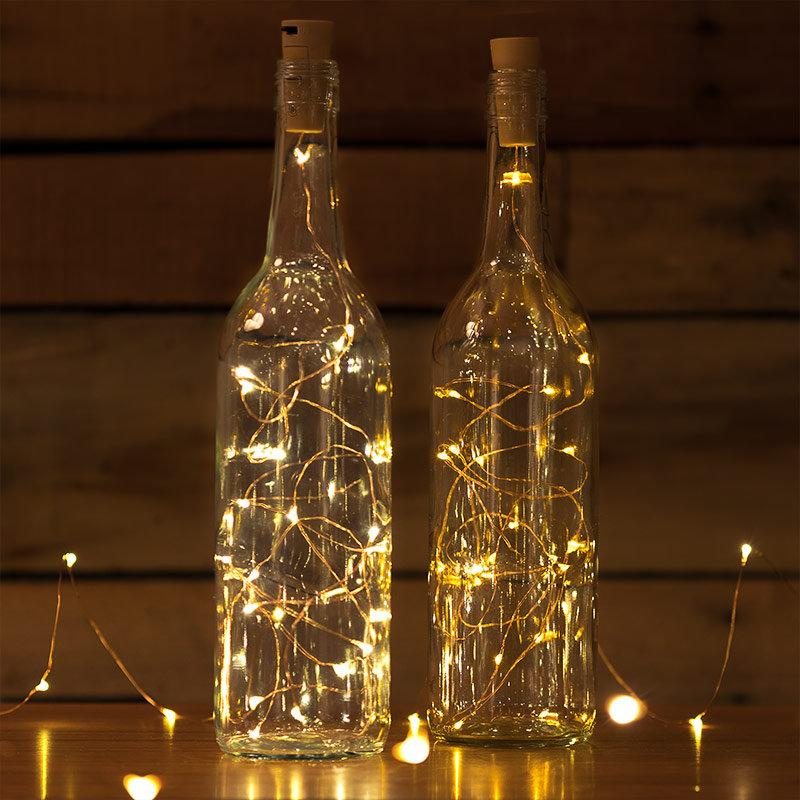 Mariage - Copper wire 20 LED lights Wine Bottle Cork Lights, Battery Operated Fairy Lights, Warm White Strand String Lights Wedding Lighting
