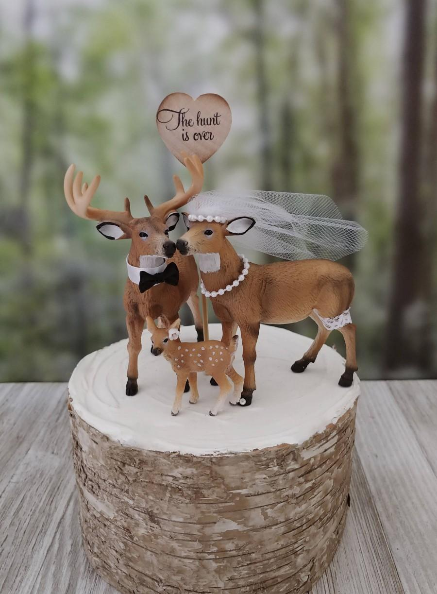 Свадьба - Camouflage- wedding-family-doe buck fawn-Mr and Mrs-deer-hunter- cake topper-deer lover-bride and groom-rustic wedding-camouflage-elk-deer