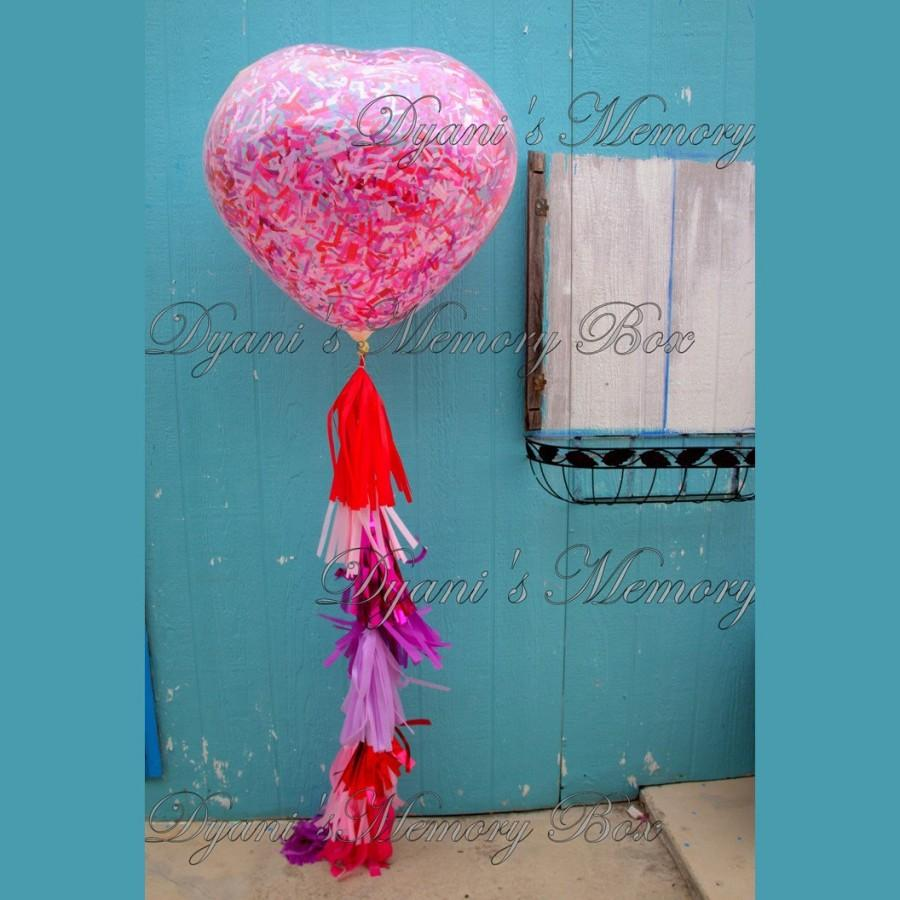 Свадьба - READY TO SHIP Valentine's Huge Heart Clear Confetti Filled Balloon with Tassel Tail / Red Pink Purple Heart Balloon / Giant Heart Balloon
