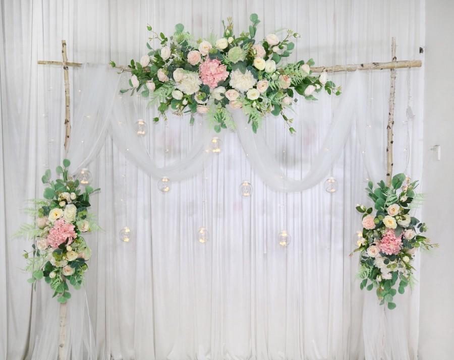 Свадьба - 3 in 1 Set White and Blush Wedding Archway Flower, Wedding Greenery Swag for Arch, Wedding Backdrop, Arbour Gazebo Flowers