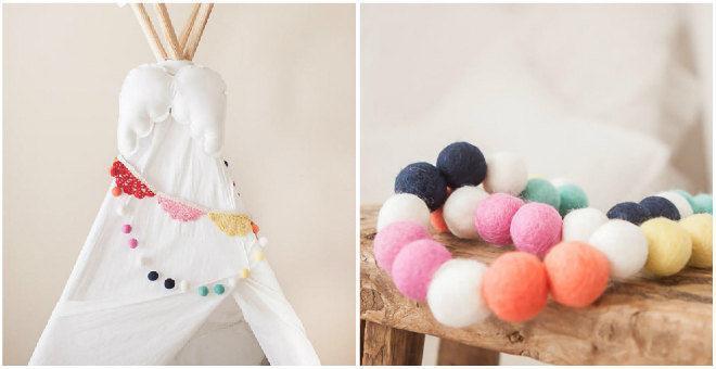 Mariage - Funfetti -Summer Felt Ball Garland - Wool Felt Poms -Felt Ball Garland -Bright Pom Poms - Felt Bead garland - Banner, Bunting, Garland