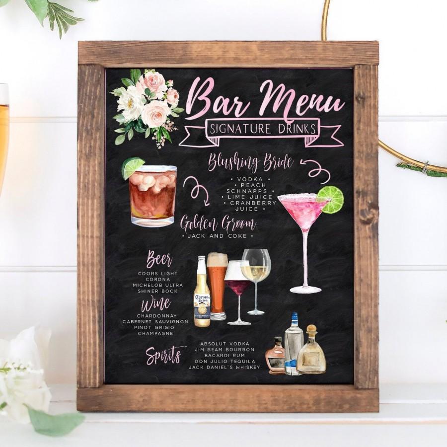 Mariage - Signature Drinks Sign, Chalkboard Signature Cocktails Template, Pink Floral Bar Menu Sign Template, Signature Drinks Sign, 150 Drink Images