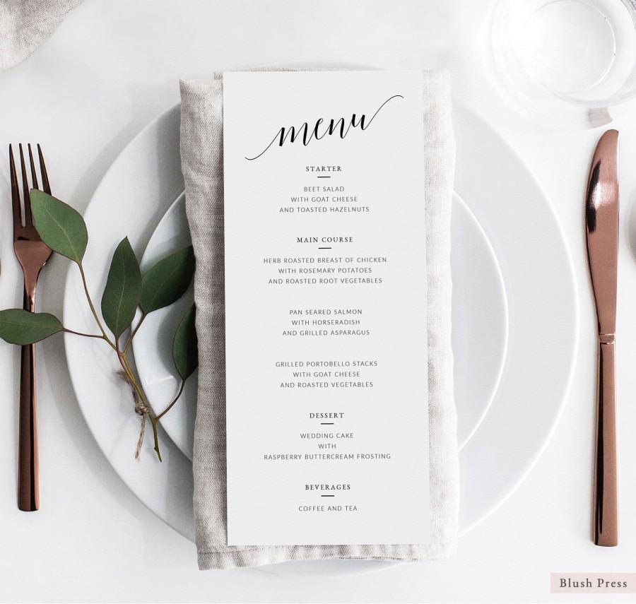 Mariage - Wedding Menu Template, Printable Wedding Menu Cards, Simple Wedding Menu, Rustic Dinner Menu, DIY Menu, Editable Menu Download, SAV-008