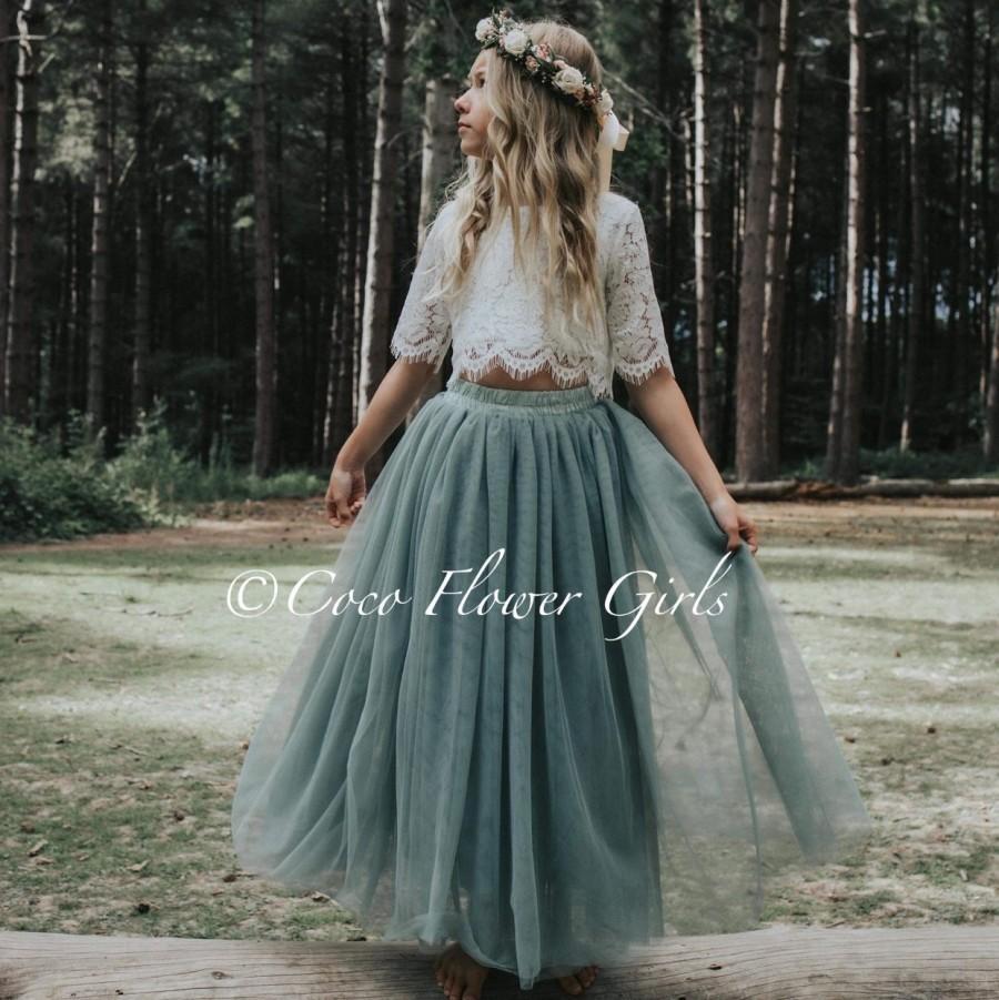 Wedding - Beautiful Bridal Flower Girl Dress Set Lace Crop Top and Long Layered Princess Tulle Skirt Set - Sage Green