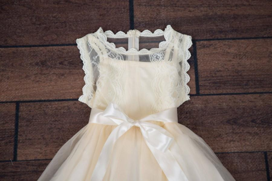 Wedding - Ivory Lace Flower Girl Dress, Champagne Rustic Bohemian Dresses, Flower Girl Proposal