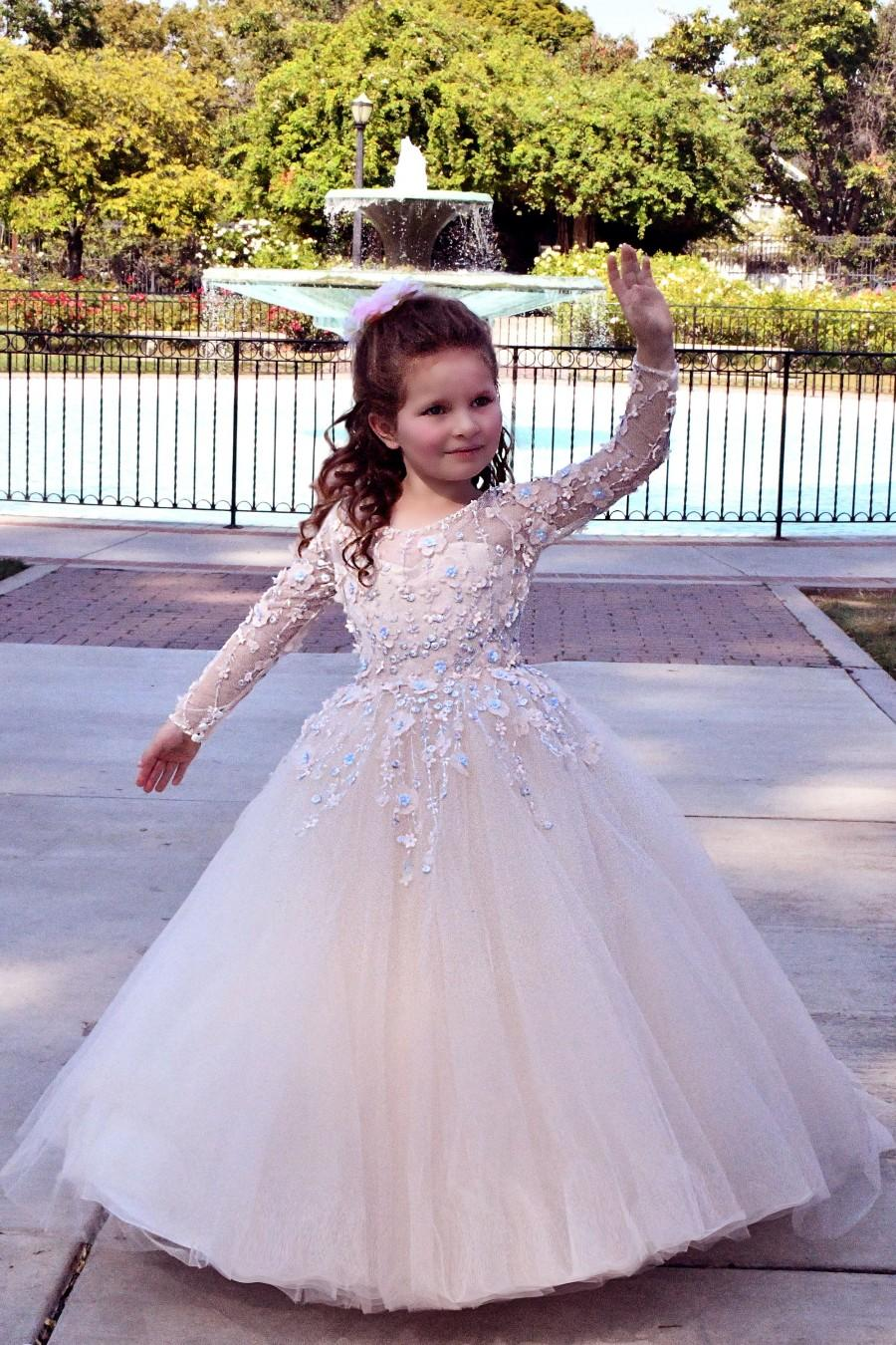 Wedding - First Communion Baptism Flower girl dress long sleeve Tutu Princess Birthday girls wedding party Toddler
