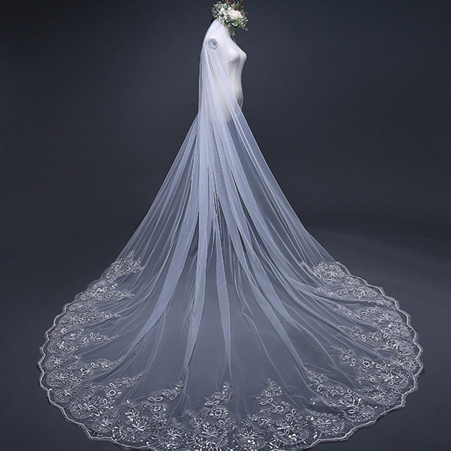 Wedding - Beautiful Long Veil with Sequins Lace of Edge,Cathedral Veil,Romantic Wedding Veil Lace